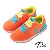 【韓國T2R】拼接雙色盾牌休閒內增高鞋 ↑7cm 橘(5600-0138)