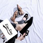 豆豆鞋 粗跟單鞋女2019早春新款中跟正韓珍珠百搭休閒豆豆鞋一腳蹬樂福鞋【星時代女王】