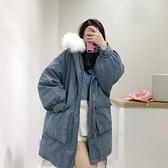 羽絨夾克-貉子毛領寬鬆大口袋女連帽外套3色73wc7[巴黎精品]