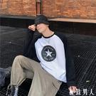 秋季港風t恤 男長袖休閒拼接印花上衣學生韓版寬鬆情侶潮流打底衫T 【極致男人】