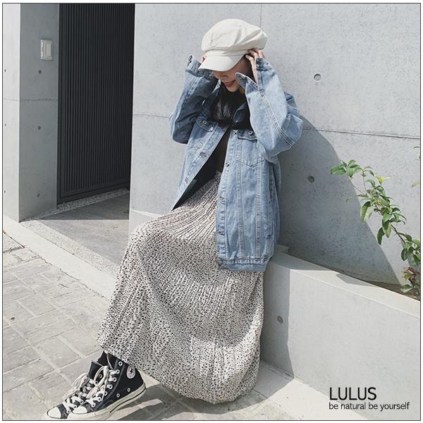 LULUS-C腰鬆緊圖案百褶長裙-2色  【05190063】