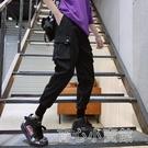 工裝褲 E國潮嘻哈 多口袋工裝褲男潮牌直筒百搭寬鬆褲子拉繩束腳褲KM35 17店