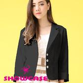 【SHOWCASE】都會女伶愛心釦修身質感西裝外套(黑)