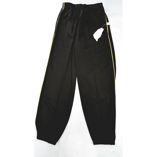 【MIT】台灣製造工作運動褲【6918-5-M】 束口褲管-黑色 側邊細黃條●夏季限定≡輕薄【 守門員】