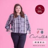 大碼仙杜拉-清新娃娃領蕾絲袖格子襯衫-XL-5XL碼 ❤【SUC164】(預購)