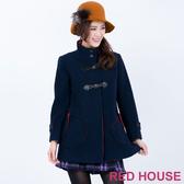 RED HOUSE-蕾赫斯-高領羊毛傘狀大衣(深藍色)
