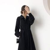 赫本風小黑裙2019新款長袖收腰法式復古桔梗裙過膝雪紡連衣裙早秋