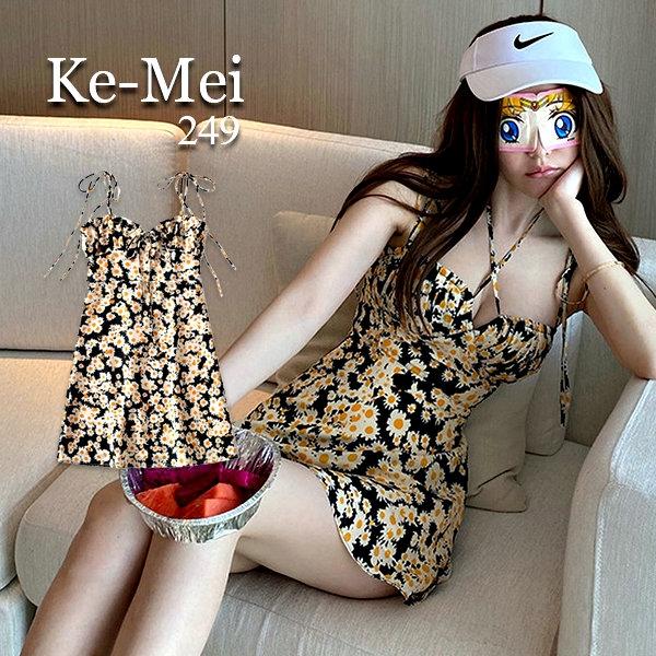克妹Ke-Mei【AT65742】Gold鬼馬系少女小碎花性感吊頸美胸小洋裝