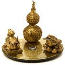 純銅貔貅金蟾葫蘆羅盤擺件...