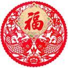 年年有餘 (福) 18*18透明片紅絨彩金春貼