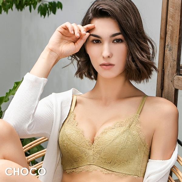 Choco Shop-花漾第戎‧無鋼圈完美撐托包覆蕾絲內衣(芥黃色) 70B~85C