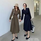 復古法式長袖連身裙女秋裝2021年新款西裝裙春秋顯瘦氣質炸街裙子 喜迎新春