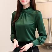 秋女長袖時尚打底衫 雪紡衫甜美上衣 桑蠶絲氣質T恤 雪紡上衣