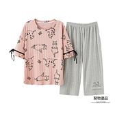 純棉睡衣女夏季短袖七分褲套裝可外穿薄款家居服夏【聚物優品】