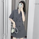 VK精品服飾 韓國風氣質翻領雙排扣優雅修身短袖洋裝