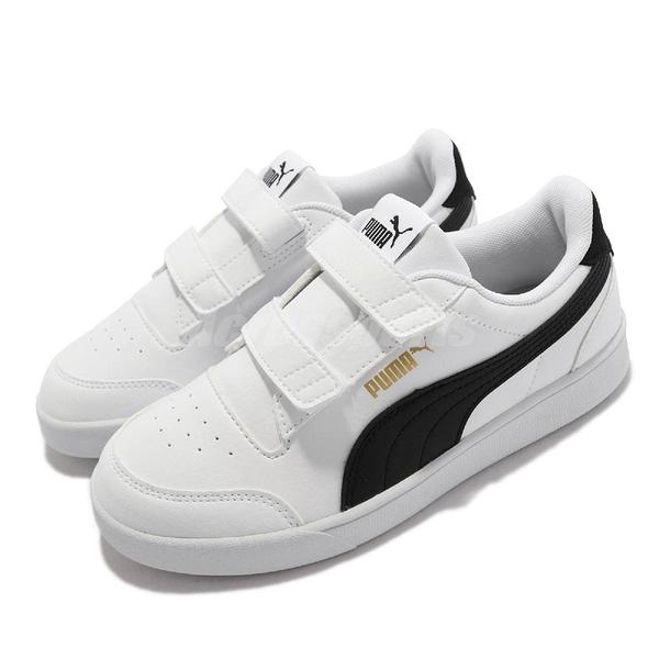 Puma 童鞋 Shuffle V PS 4-7歲 白 黑 幼稚園 小朋友 魔鬼氈 運動鞋【ACS】 375689-02