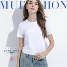 白色t恤女短袖春夏新款純棉純白修身不透白t內搭體桖上衣打底衫【快速出貨】