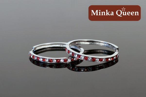 德國鈦鋼 單排白紅鑽造型 精緻水鑽抗敏易扣耳環(一對)(27 mm)