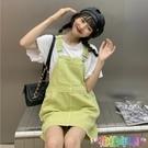 夏季新款韓版復古減齡寬鬆學生簡約百搭休閒時尚背帶連衣裙女 快速出貨