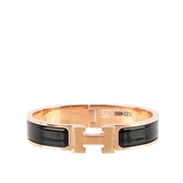 【HERMES】Clic H 玫瑰金釦琺瑯材質細版手環PM(黑色) H700001FO01PM