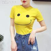 短袖女春裝韓修身百搭圓領卡通印花基礎款打底衫T恤上衣「Chic七色堇」