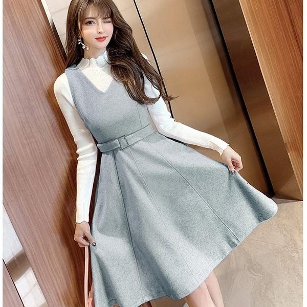 V領腰帶A字顯瘦吊帶過膝洋裝兩件套(白上衣+吊帶裙)[99116-QF]美之札