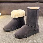 中筒靴 冬季加厚平底學生防滑保暖雪地靴女休閒中筒短靴雪地棉鞋  潔思米
