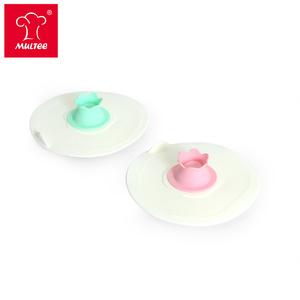 【MULTEE摩堤】12cm花朵矽晶杯蓋組-蜜桃粉+薄荷綠