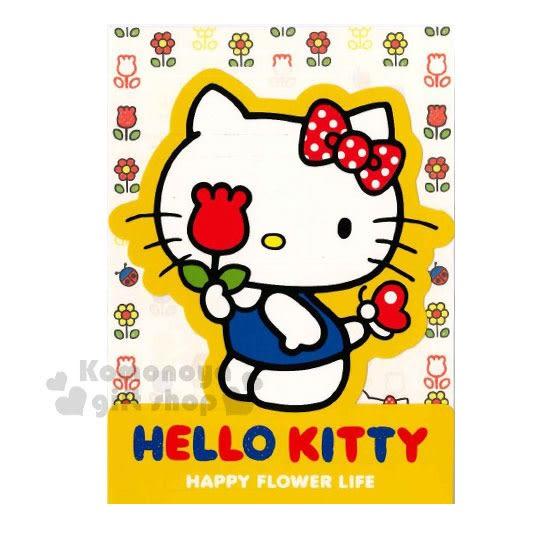 〔小禮堂〕Hello Kitty 造型萬用卡片《黃白.站姿.拿花.藍吊帶褲》送禮卡.祝賀卡.節慶卡 4714581-22625