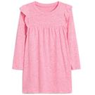 Gap女幼童 柔軟荷葉邊長袖圓領洋裝497417-淺色粉