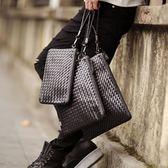 潮手工編織包男信封包休閒軟皮手拿包社會青年手拎大容量文件手包『小淇嚴選』