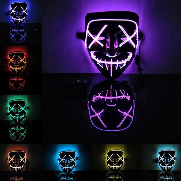 抖音同款發光面具 鬼步舞鬼臉面具 派對 萬聖節搞怪小丑面具 電音成人led冷光面具 舞台表演 發光