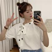 T恤 女夏裝2020新款韓版拼接愛心圍脖系帶刺繡T恤短袖純色小心機上衣 2色