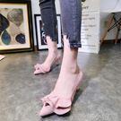韓版新品糖果色尖頭裙擺細跟高跟鞋貓跟鞋淺口單鞋船鞋小跟鞋女鞋  喵小姐