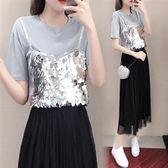 促銷價不退換中大尺碼XL-5XL短袖半身裙兩件套34140夏裝新款韓版胖mm時尚網紅亮片套裝裙