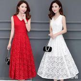蕾絲洋裝新款韓版中長款紅色無袖過膝修身收腰顯瘦長裙 js4906『miss洛羽』