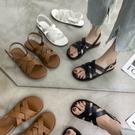 涼鞋.舒適軟Q交叉魚骨編織平底涼鞋.白鳥麗子