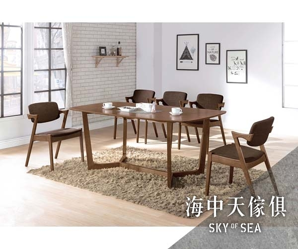 {{ 海中天休閒傢俱廣場 }} G-41 摩登時尚 餐廳系列 A446-01 羅布淺胡桃6尺餐桌椅組