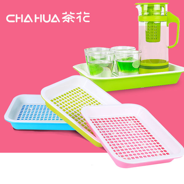 茶花茶盤家用塑料簡約茶具雙層大號小號茶盤現代茶臺茶水盤茶托盤 居享優品