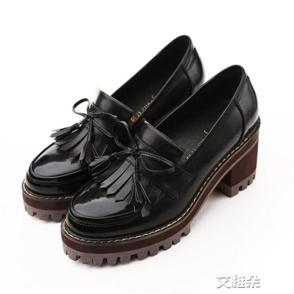 布洛克鞋粗跟單鞋女韓版百搭小清新高跟鞋少女英倫風小皮鞋學生潮   艾維朵