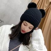 秋冬加絨加厚毛線帽可愛帽子女冬天保暖耳朵韓版産後時尚月子冬季 扣子小鋪