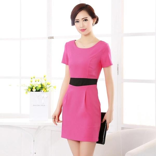 OL職業女裝 工作服連身裙夏裝大碼職業裝中袖包臀彈力OL氣質修身顯瘦一步裙