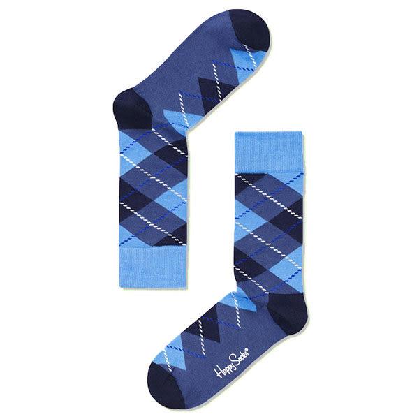 『摩達客』瑞典進口【Happy Socks】藍菱格紋中統襪(60112081003)