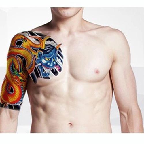 花臂 紋身貼 紋身貼紙 刺青貼紙 紋身貼 貼紙 龍纹 日韓系 大號 日韓 水轉印紋身貼紙 現貨 8044