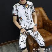 運動短袖套裝 新款T恤韓版個性潮流衣服帥氣學生夏季兩件套 科炫數位