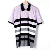 John Duke 經典條紋POLO衫-粉紫