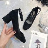 高跟鞋 粗跟一字扣粗跟方頭高跟單鞋春季韓版百搭黑色職業中跟絨面ol女鞋伊芙莎