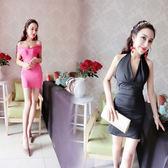 性感洋裝 夜店包臀裙修身露背緊身掛脖女短裙