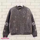 【SHOWCASE】羊毛混紡個性鍊飾厚磅休閒外套(灰)