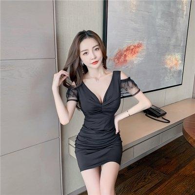 裙子洋裝98383#實拍時尚修身顯瘦低胸V領性感露肩短袖包臀連衣裙GB507.胖胖唯依